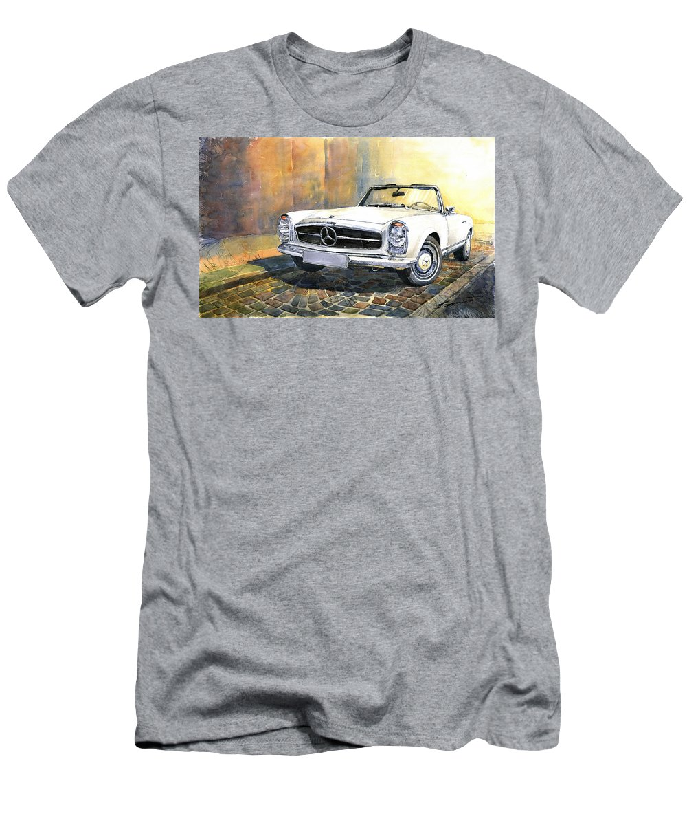 Auto Men's T-Shirt (Athletic Fit) featuring the painting Mercedes Benz W113 280 Sl Pagoda Front by Yuriy Shevchuk