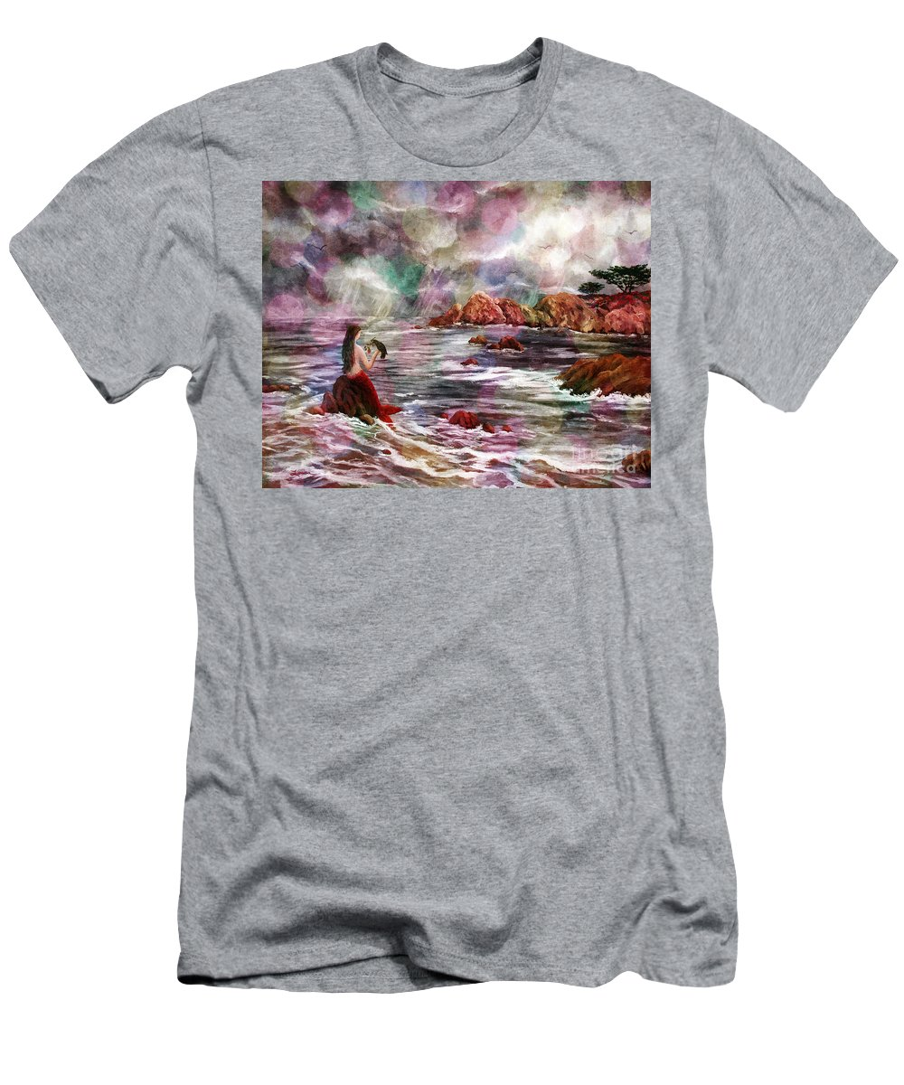 Dreamy Men's T-Shirt (Athletic Fit) featuring the digital art Mermaid In Rainbow Raindrops by Laura Iverson