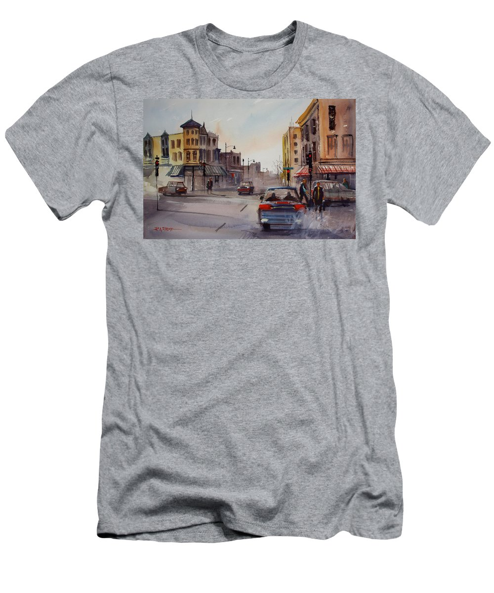 Paintings Men's T-Shirt (Athletic Fit) featuring the painting Merritt And Main by Ryan Radke