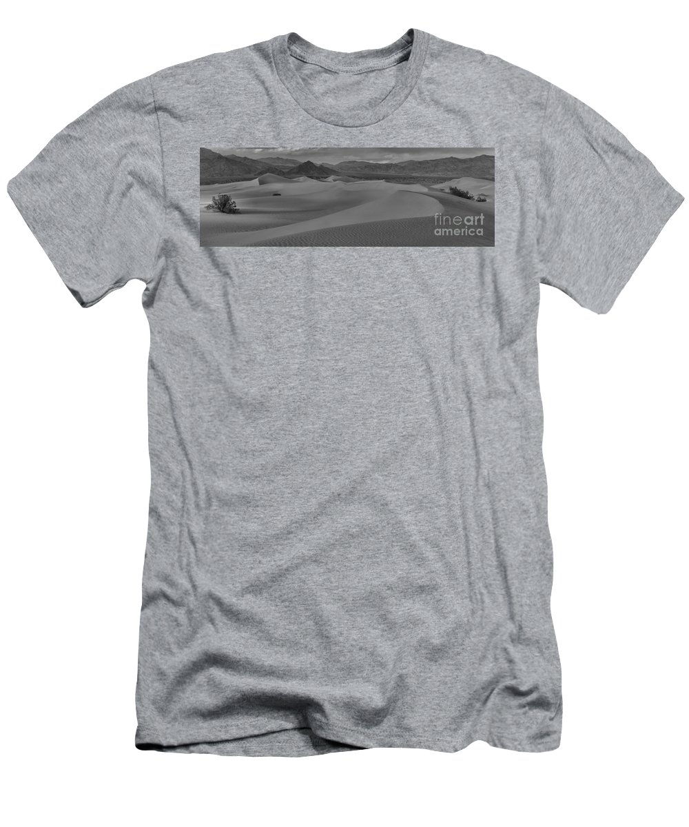 Black And White Men's T-Shirt (Athletic Fit) featuring the photograph Mesquite Sand Dunes Black And White Panorama by Adam Jewell
