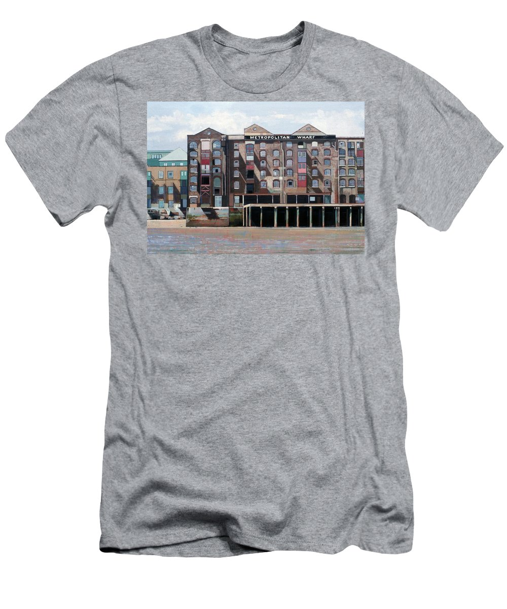 Metropolitan Wharf Men's T-Shirt (Athletic Fit) featuring the painting Metropolitan Wharf by Peter Wilson