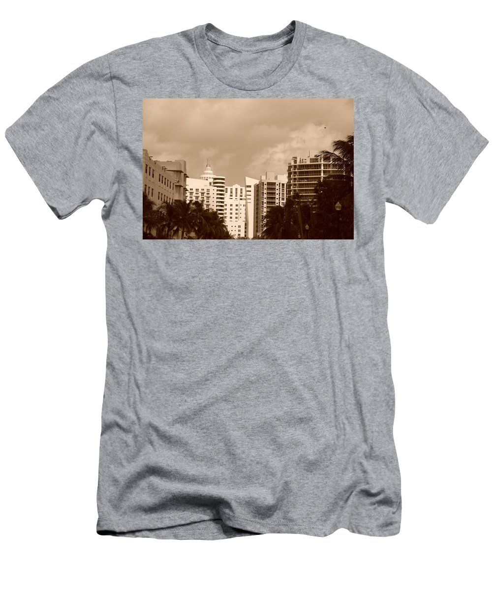 Sepia Men's T-Shirt (Athletic Fit) featuring the photograph Miami Sepia Sky by Rob Hans