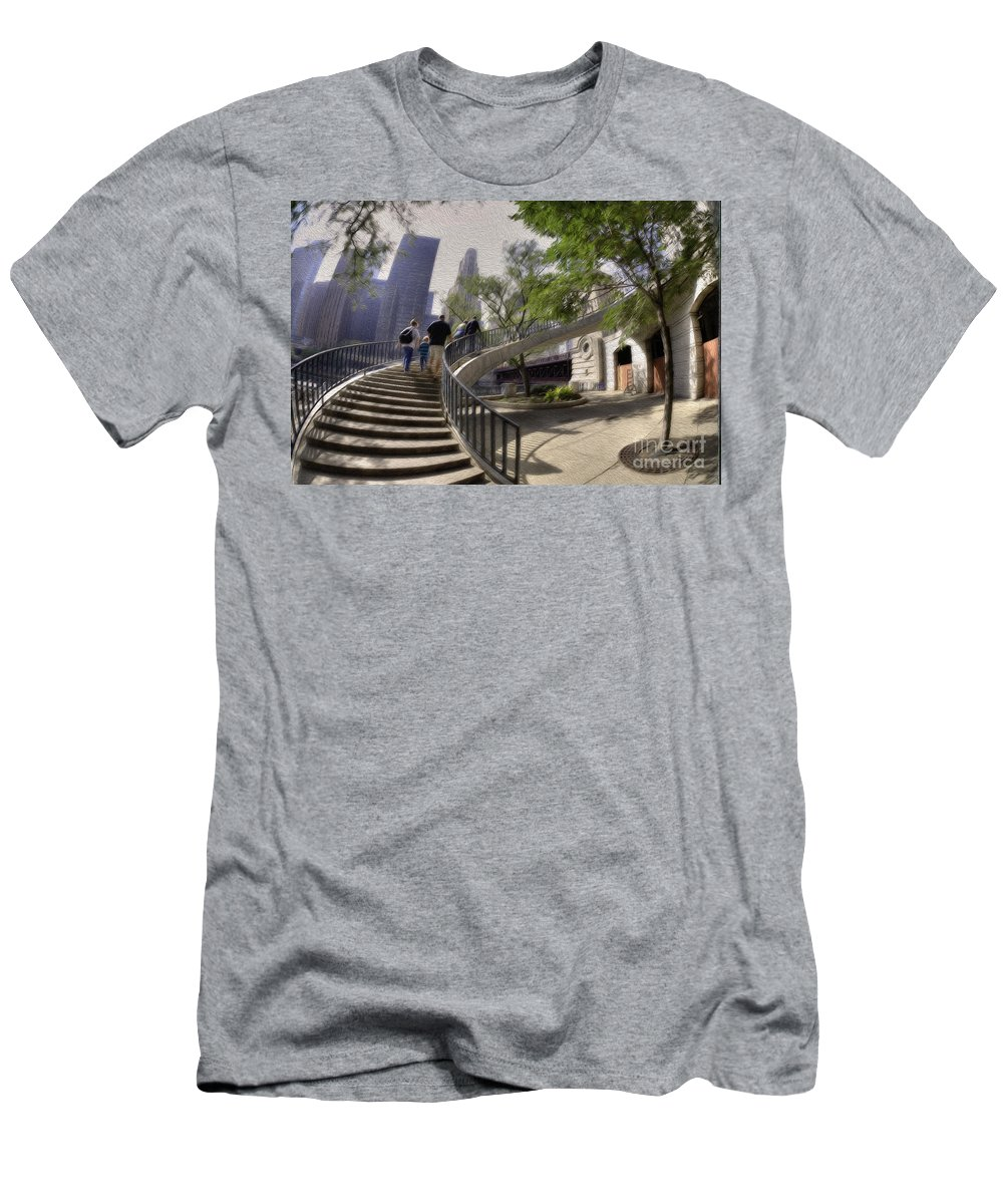 Chicago Men's T-Shirt (Athletic Fit) featuring the photograph Michigan Avenue On The River by David Bearden
