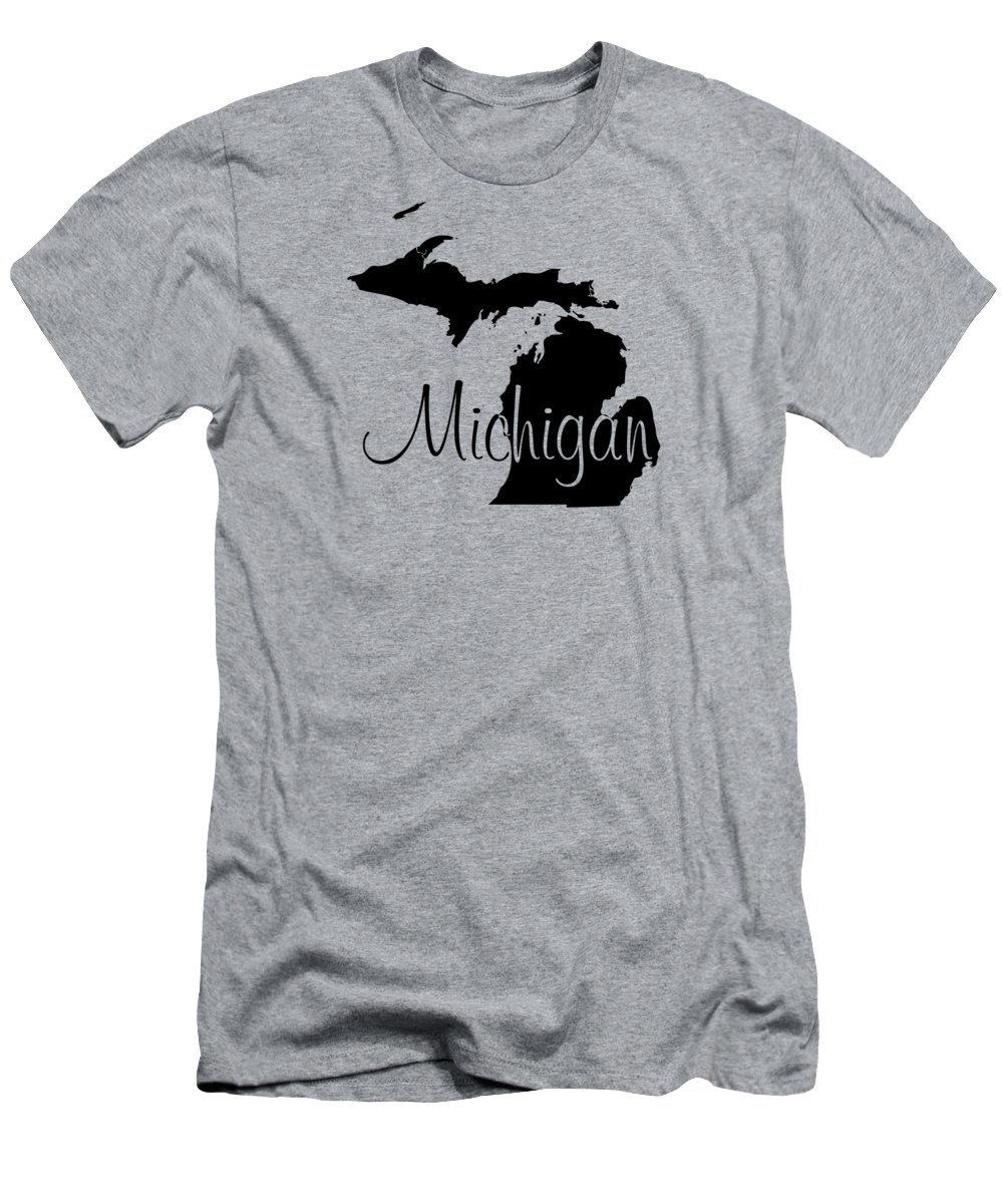Michigan Men's T-Shirt (Athletic Fit) featuring the digital art Michigan In Black by Custom Home Fashions