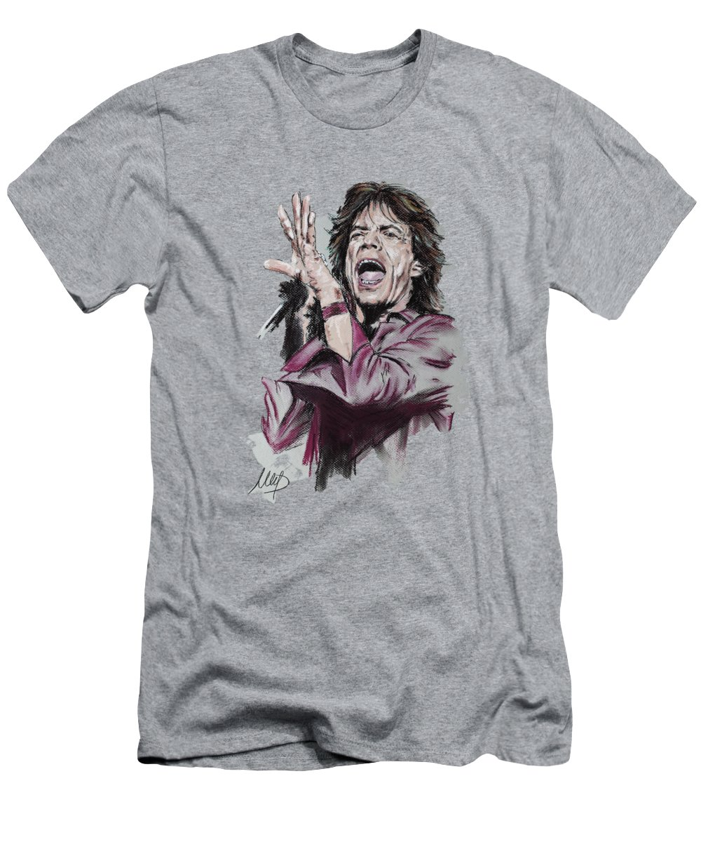 Mick Jagger Men's T-Shirt (Athletic Fit) featuring the pastel Mick by Melanie D