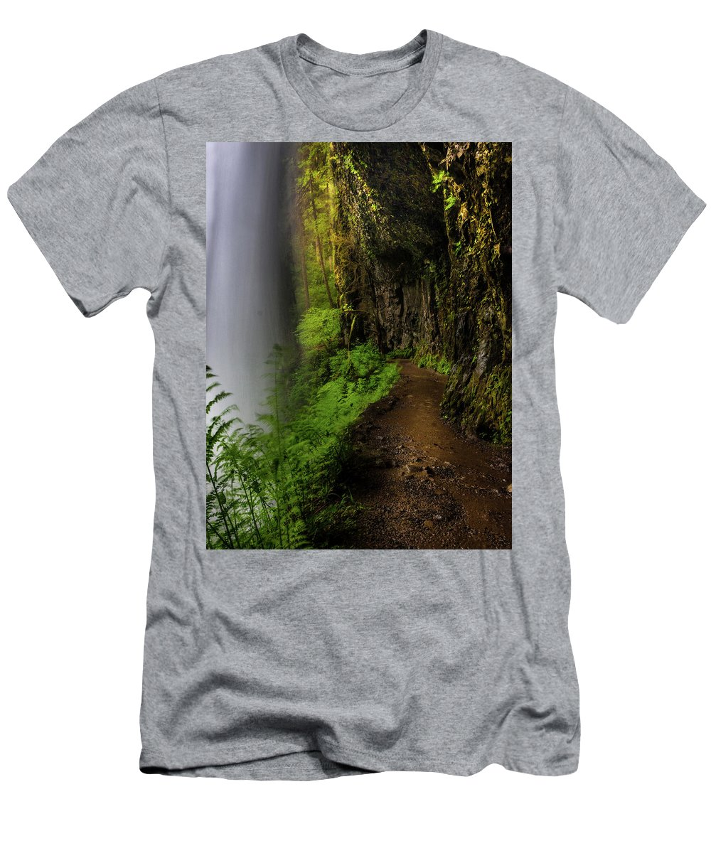 Michele James Photography Men's T-Shirt (Athletic Fit) featuring the photograph Middle North Falls Grotto by Michele James