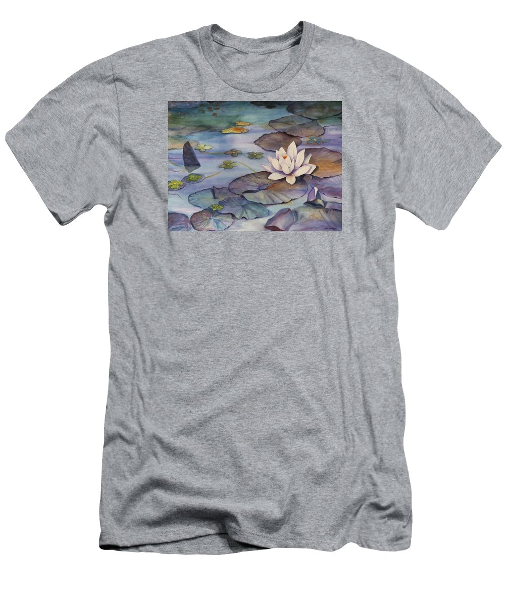 Lily Men's T-Shirt (Athletic Fit) featuring the painting Midnight Lily by Jun Jamosmos