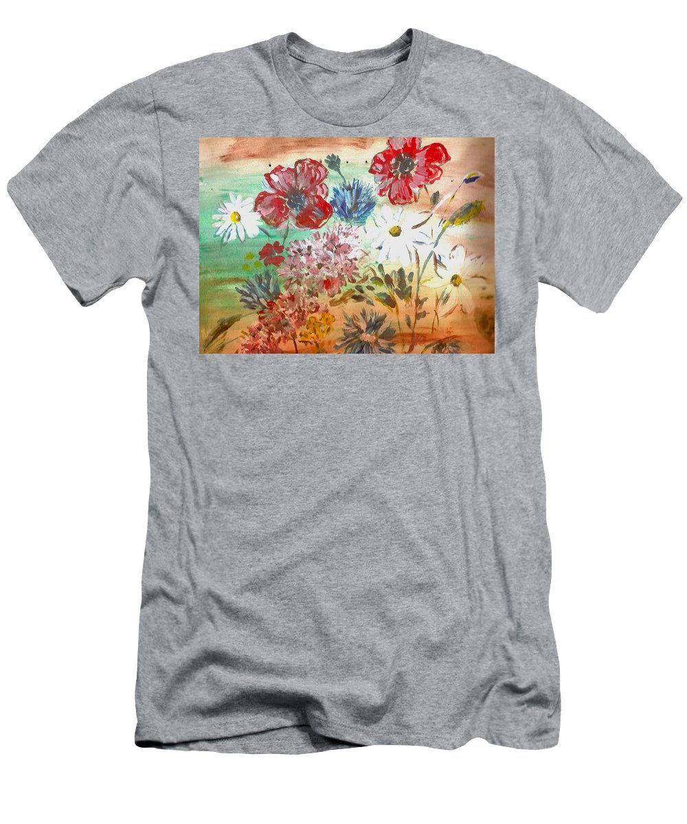 Flowers Men's T-Shirt (Athletic Fit) featuring the painting Midsummer Delight by Pepita Selles