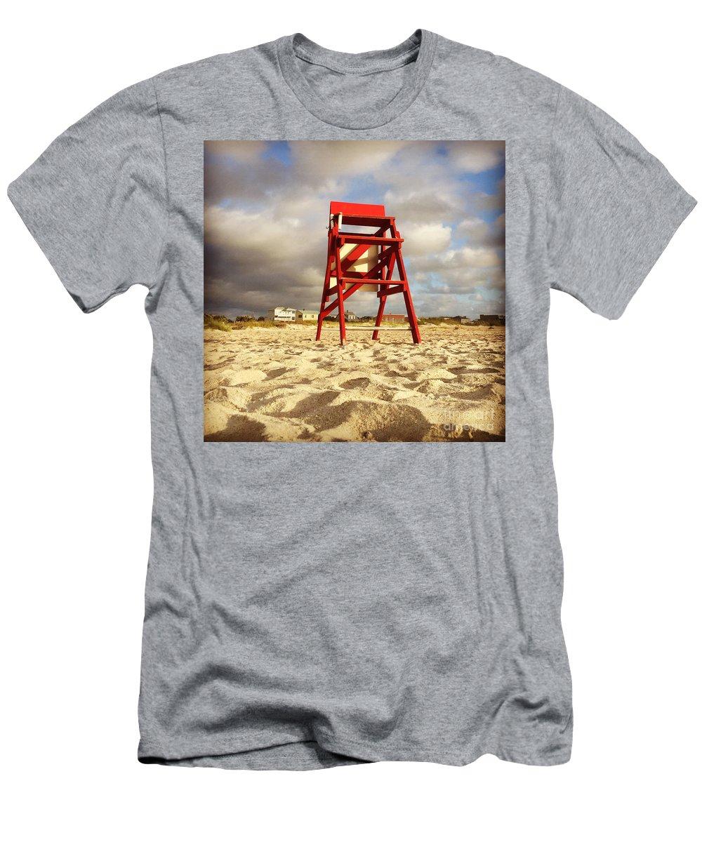 #summerbegins #lifeguards #savelives #heroes #boysofsummer #girlsofsummer #westend2 #jonesbeachmemories #staugustine #florida #leeannkendall #1000sunrises Men's T-Shirt (Athletic Fit) featuring the photograph Mighty Red by LeeAnn Kendall