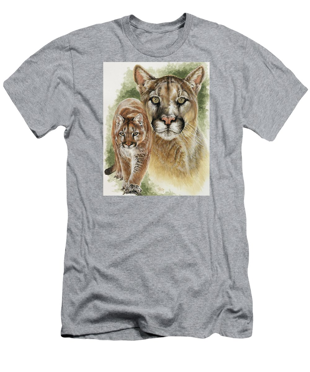 Cougar Men's T-Shirt (Athletic Fit) featuring the mixed media Mighty by Barbara Keith