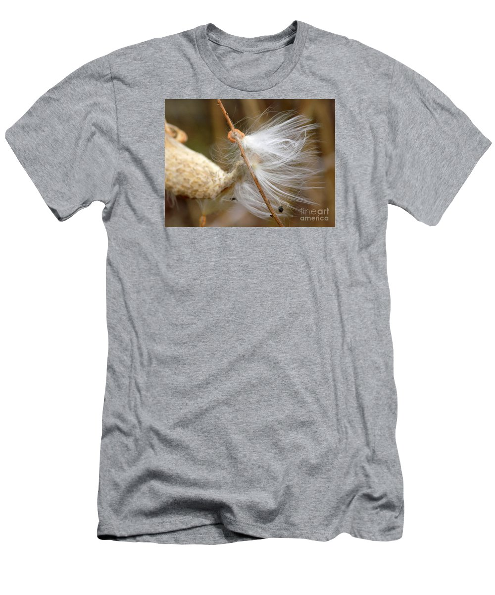 Asclepias Syriaca Men's T-Shirt (Athletic Fit) featuring the photograph Milkweed Feathers by William Tasker