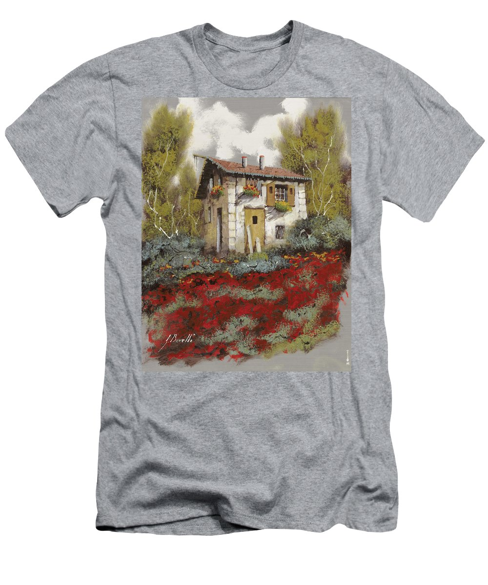 Landscape Men's T-Shirt (Athletic Fit) featuring the painting Mille Papaveri by Guido Borelli