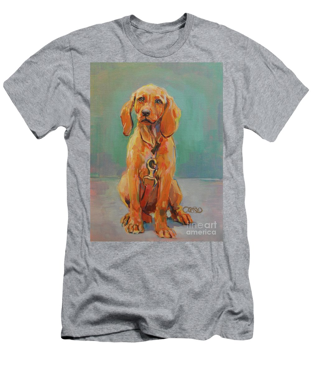 Vizsla Men's T-Shirt (Athletic Fit) featuring the painting Mini Minni by Kimberly Santini