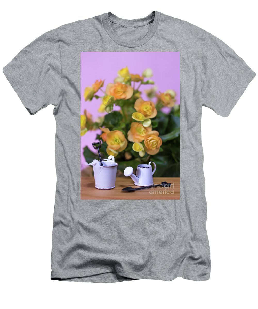Background Men's T-Shirt (Athletic Fit) featuring the photograph Miniature Gardening Kit With Orange Begonia Background by Eiko Tsuchiya
