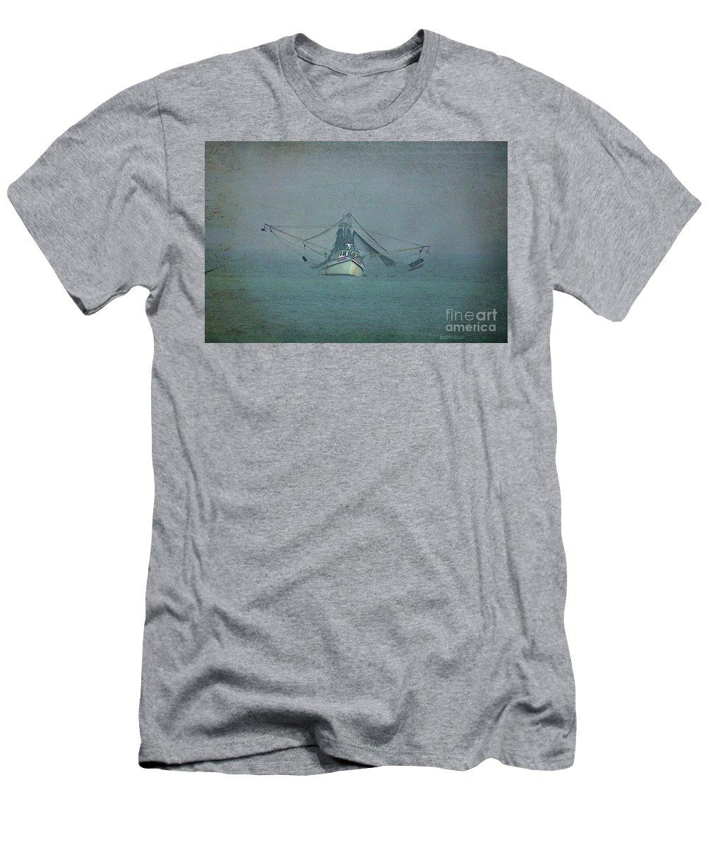 Fishing Boat Men's T-Shirt (Athletic Fit) featuring the photograph Miss Hazel Textured by Deborah Benoit