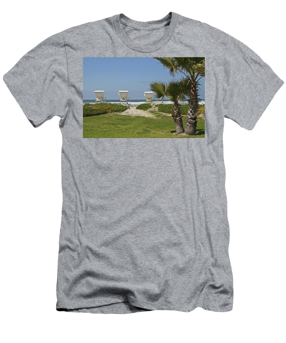 Beach Men's T-Shirt (Athletic Fit) featuring the photograph Mission Beach Shelters by Margie Wildblood