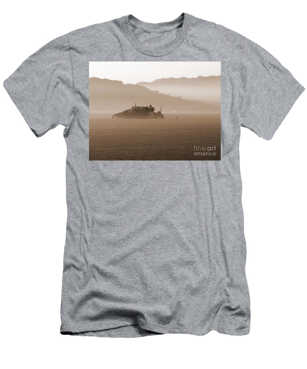 San Francisco Men's T-Shirt (Athletic Fit) featuring the photograph Misty Alcatraz by Carol Groenen