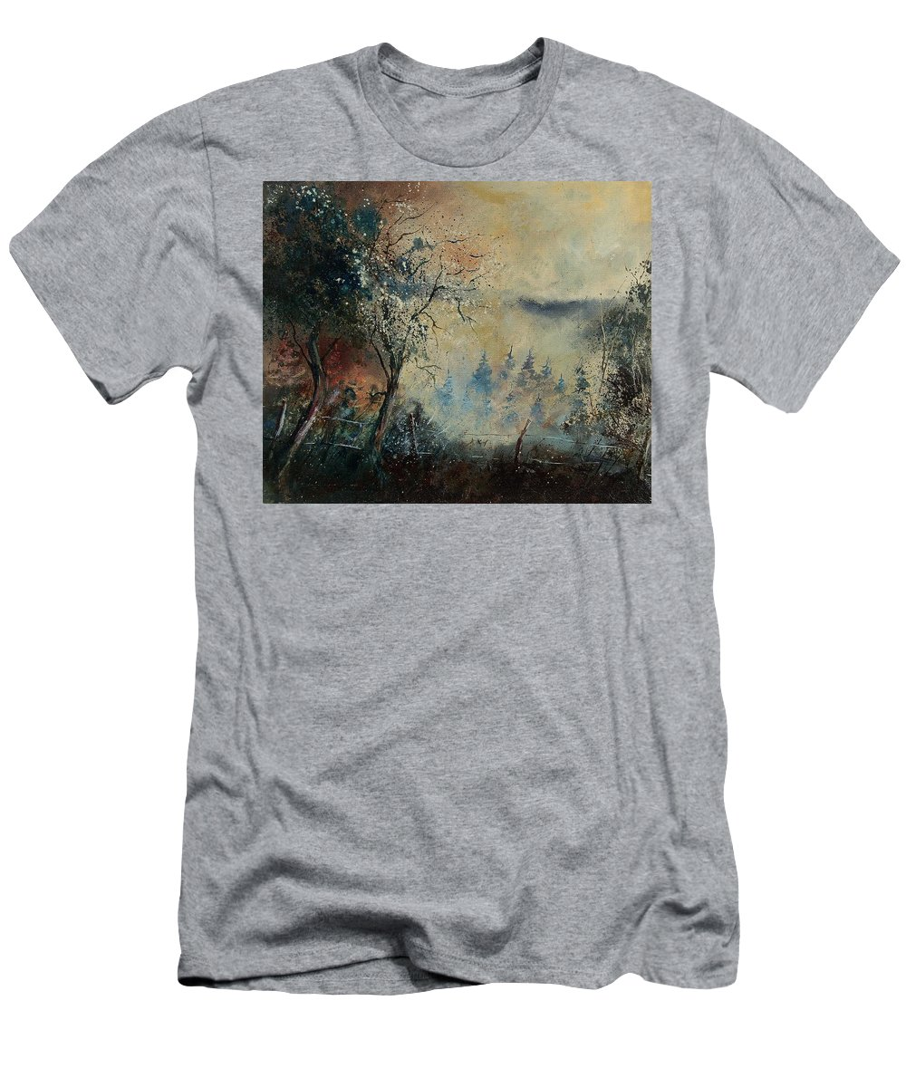 Tree Men's T-Shirt (Athletic Fit) featuring the painting Misty Morning by Pol Ledent