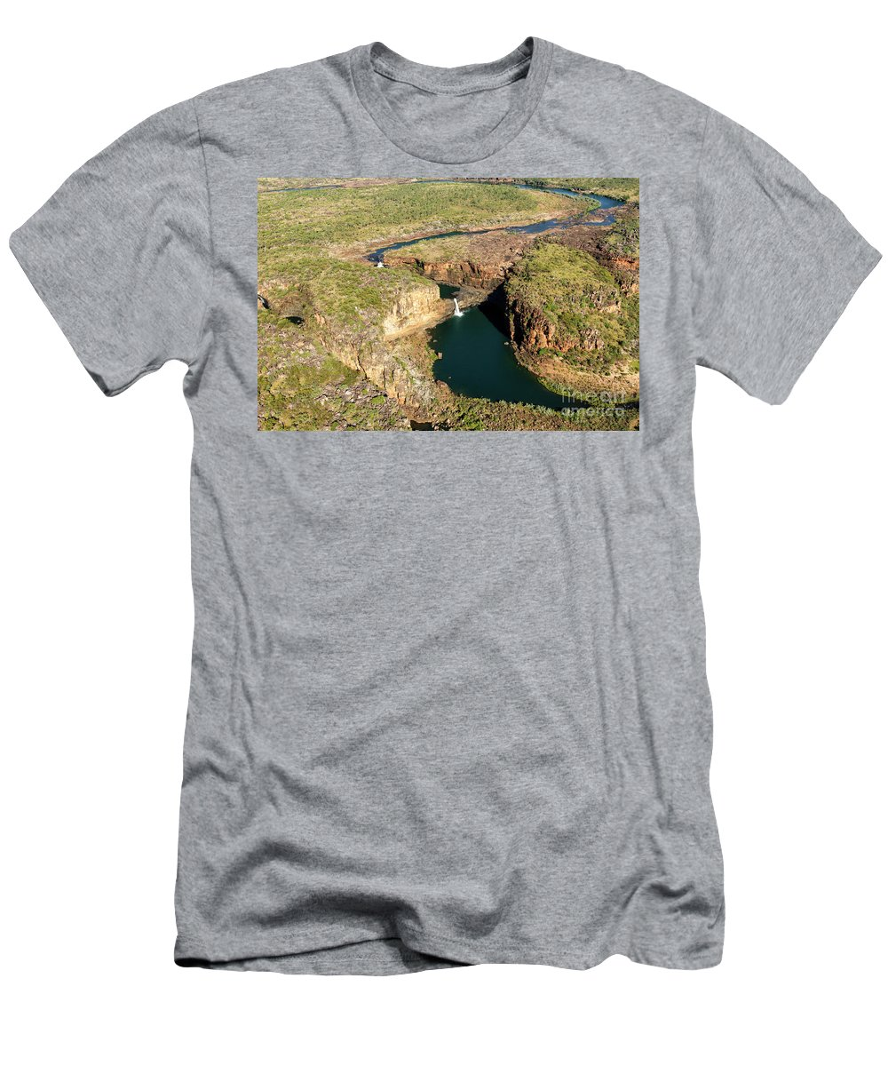 Aerial Shot Men's T-Shirt (Athletic Fit) featuring the photograph Mitchell Falls by Genevieve Vallee