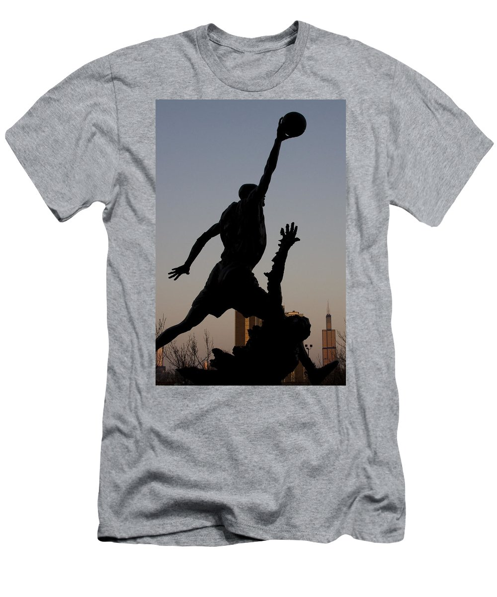 Chicago United Center Mj Micheal Jordan 23 Dark Basketball Men's T-Shirt (Athletic Fit) featuring the photograph MJ by Andrei Shliakhau