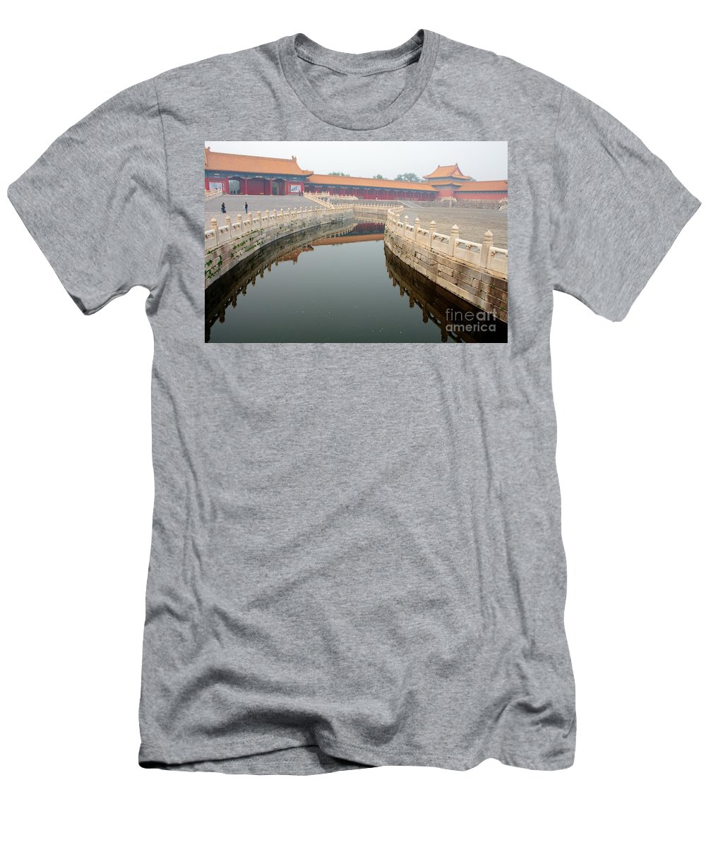 Moat Men's T-Shirt (Athletic Fit) featuring the photograph Moat Forbidden City Beijing by Thomas Marchessault