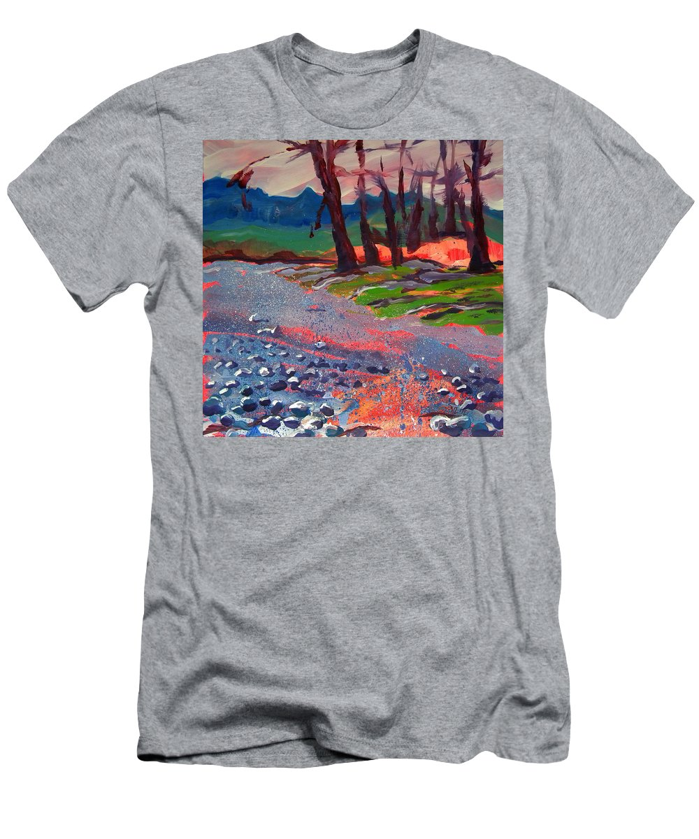 River Men's T-Shirt (Athletic Fit) featuring the painting Molalla River Shore 7 by Pam Van Londen