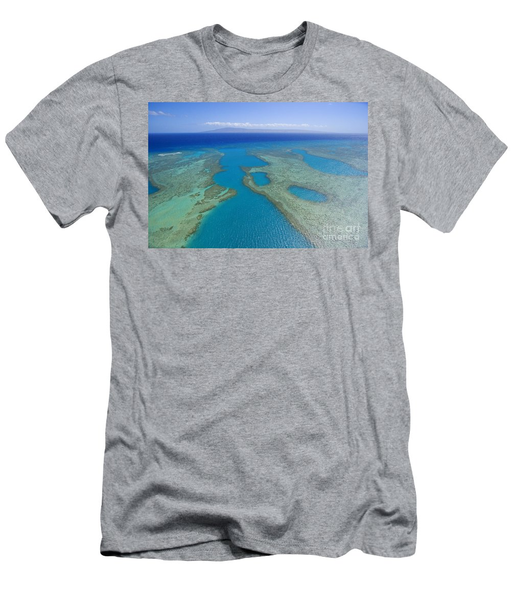 Above Men's T-Shirt (Athletic Fit) featuring the photograph Molokai, Aerial by Ron Dahlquist - Printscapes