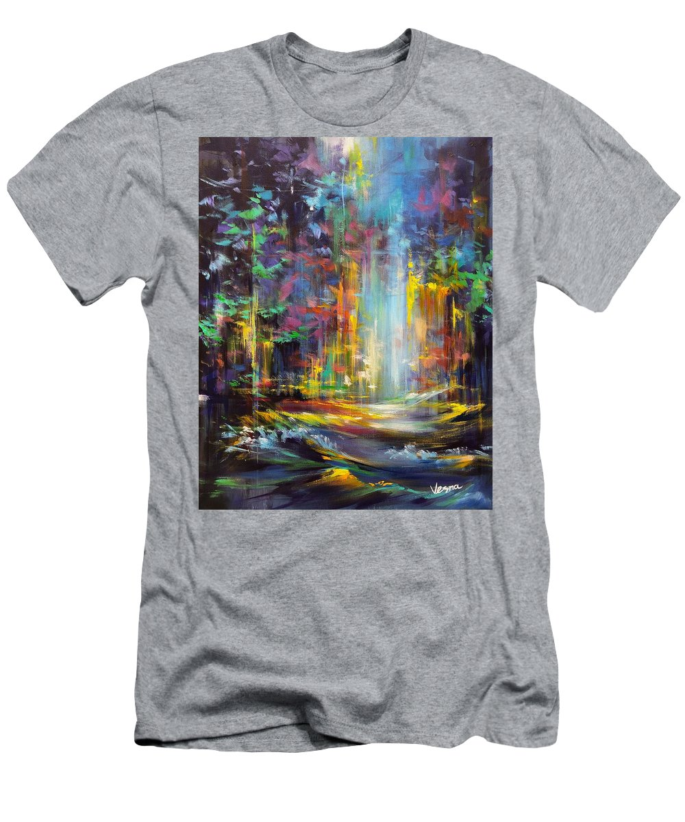 Forest Men's T-Shirt (Athletic Fit) featuring the painting Moment by Vesna Delevska