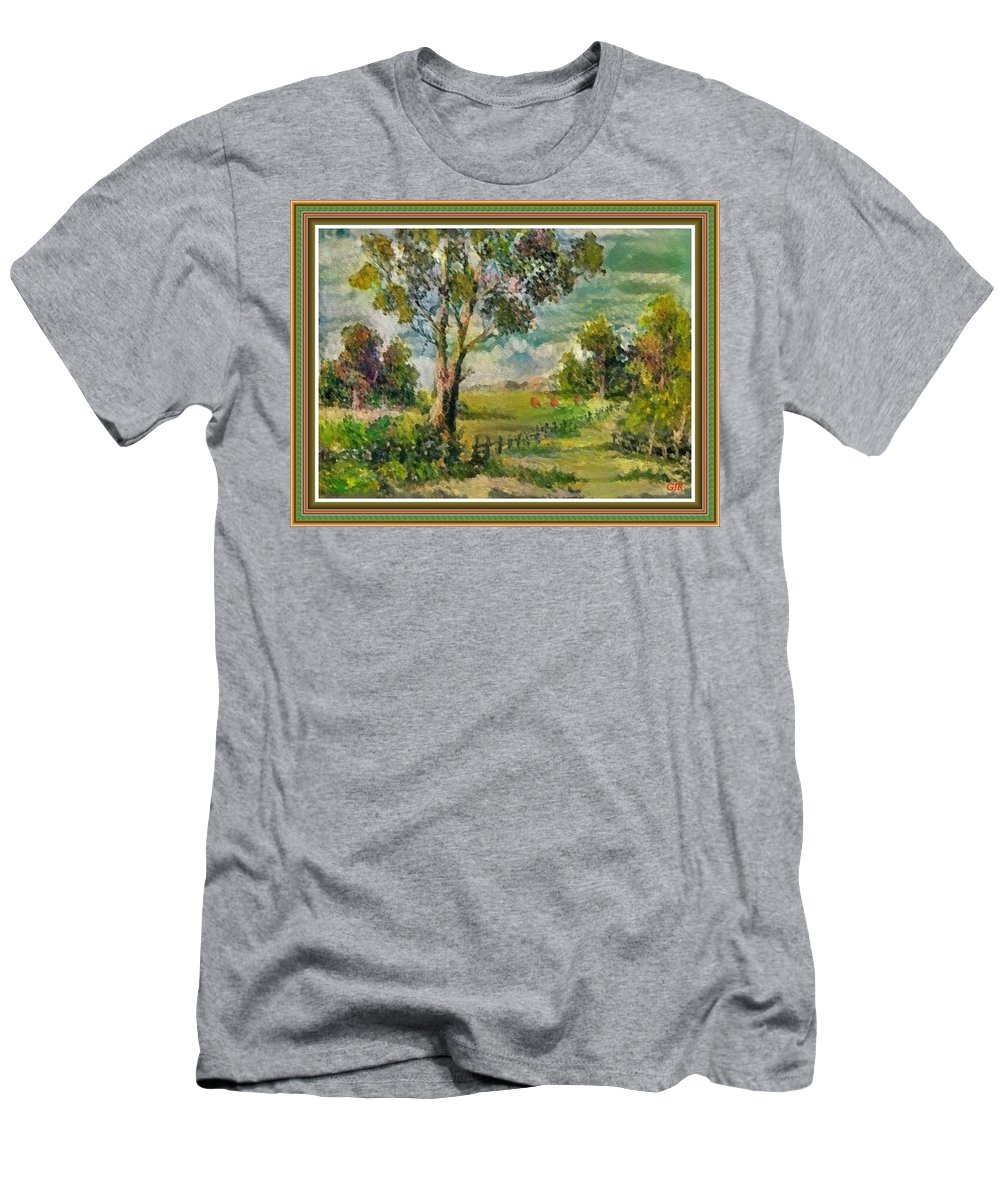 Monet Men's T-Shirt (Athletic Fit) featuring the digital art Monetcalia Catus 1 No. 3 Landscape Scene Near Fontainebleau L B With Alt. Decorative Printed Frame. by Gert J Rheeders