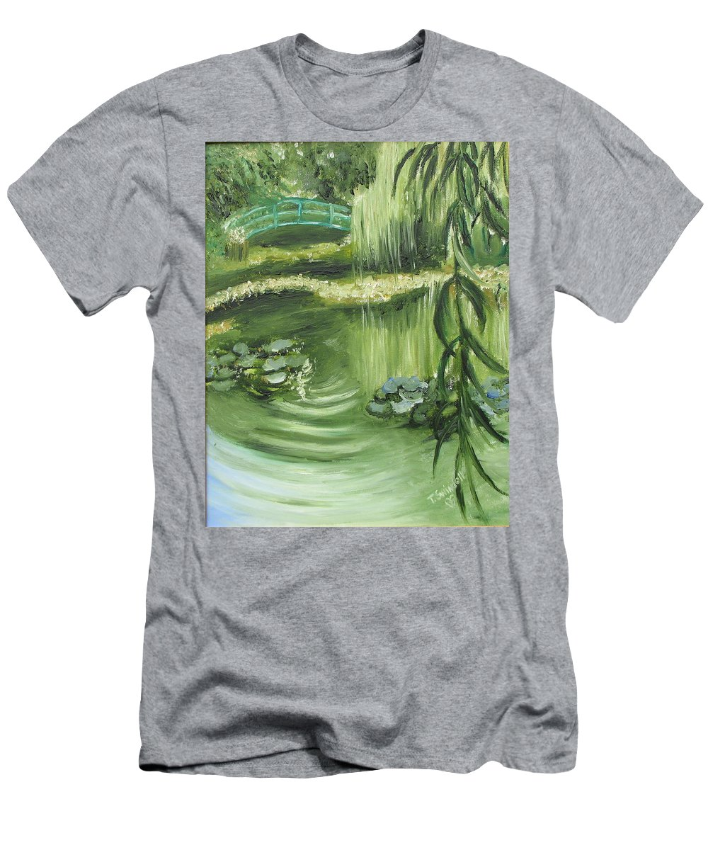 Monet Men's T-Shirt (Athletic Fit) featuring the painting Monet's Garden by Tina Swindell