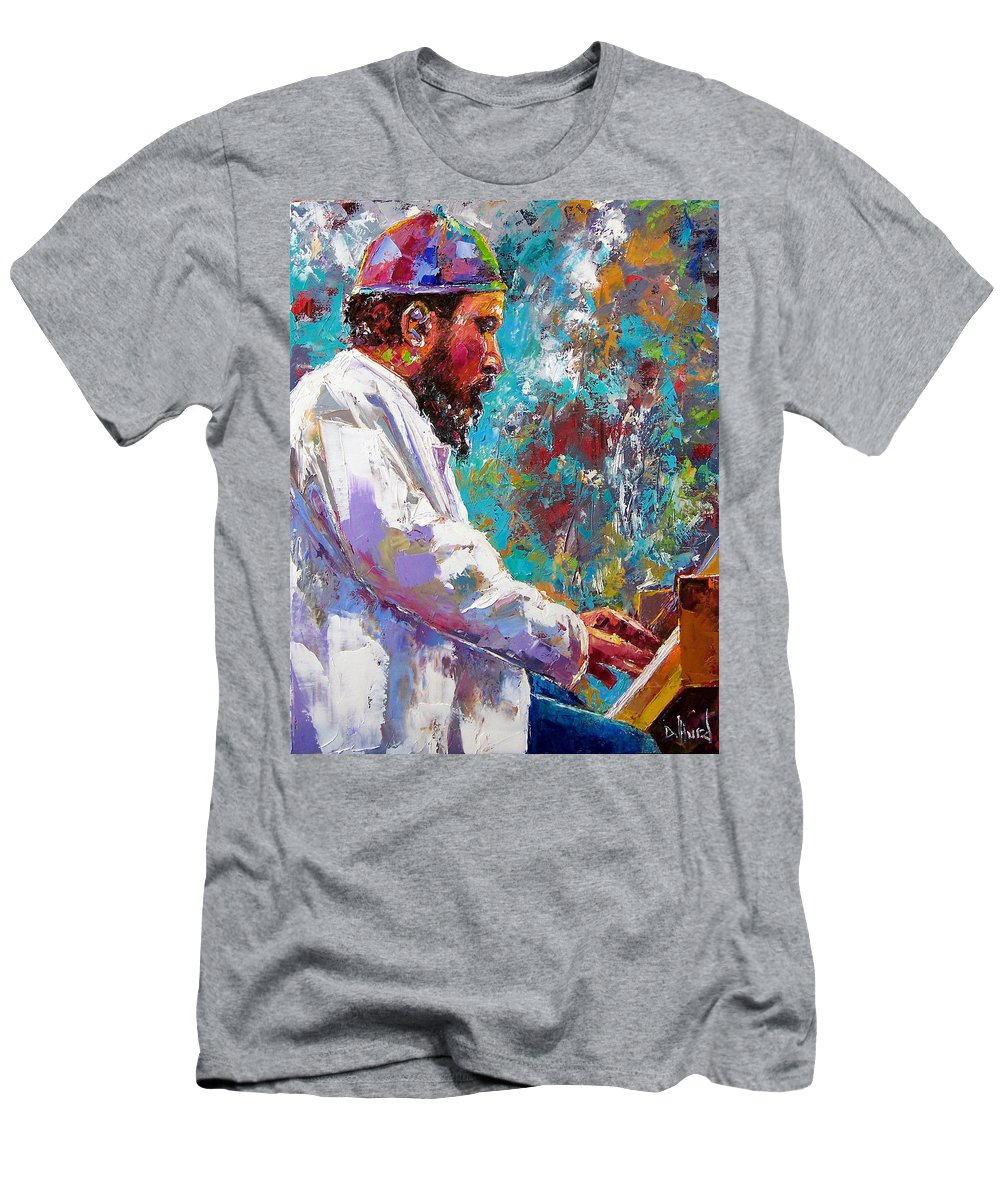 Thelonious Monk Art Men's T-Shirt (Athletic Fit) featuring the painting Monk Live by Debra Hurd
