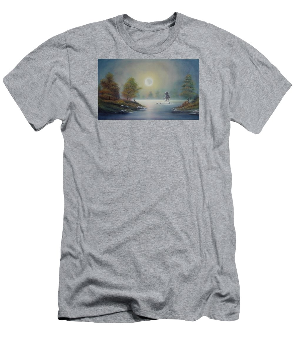 Landscape Men's T-Shirt (Athletic Fit) featuring the painting Monstruo Ness by Angel Ortiz