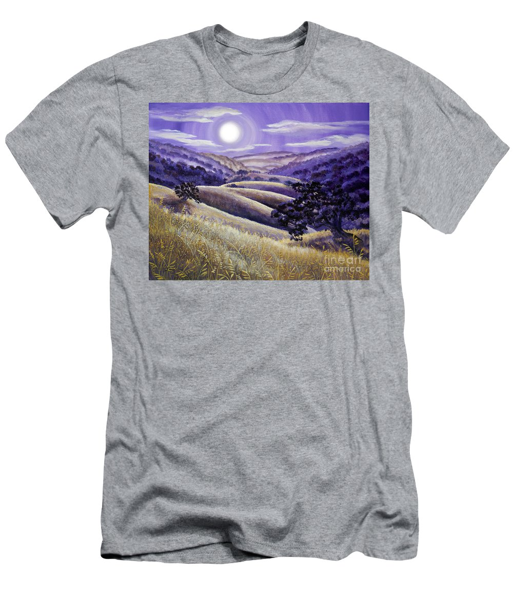 Landscape Men's T-Shirt (Athletic Fit) featuring the painting Moonrise Over Monte Bello by Laura Iverson