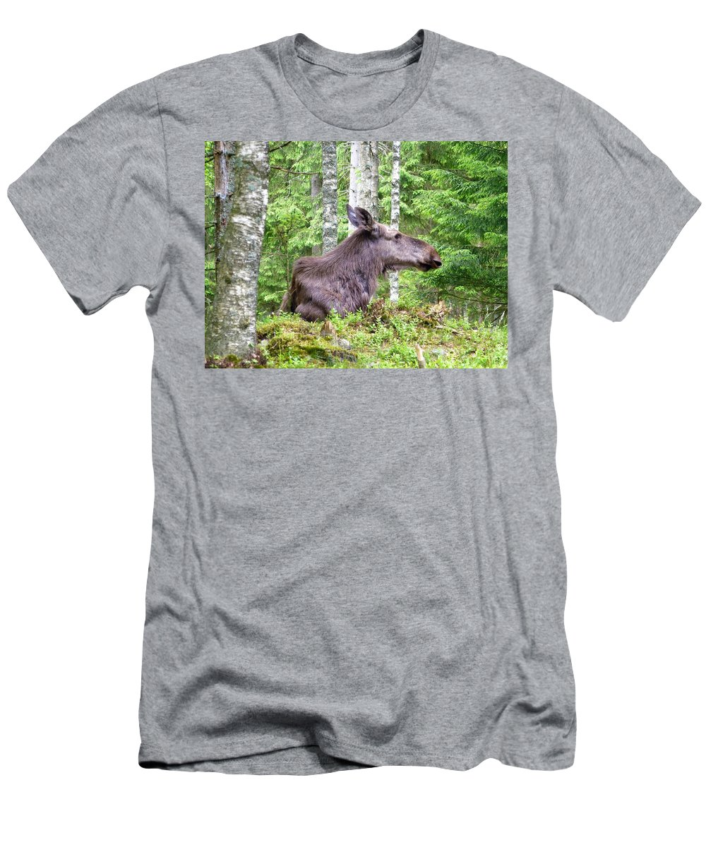Elk Men's T-Shirt (Athletic Fit) featuring the photograph Moose by Renee Pettersson