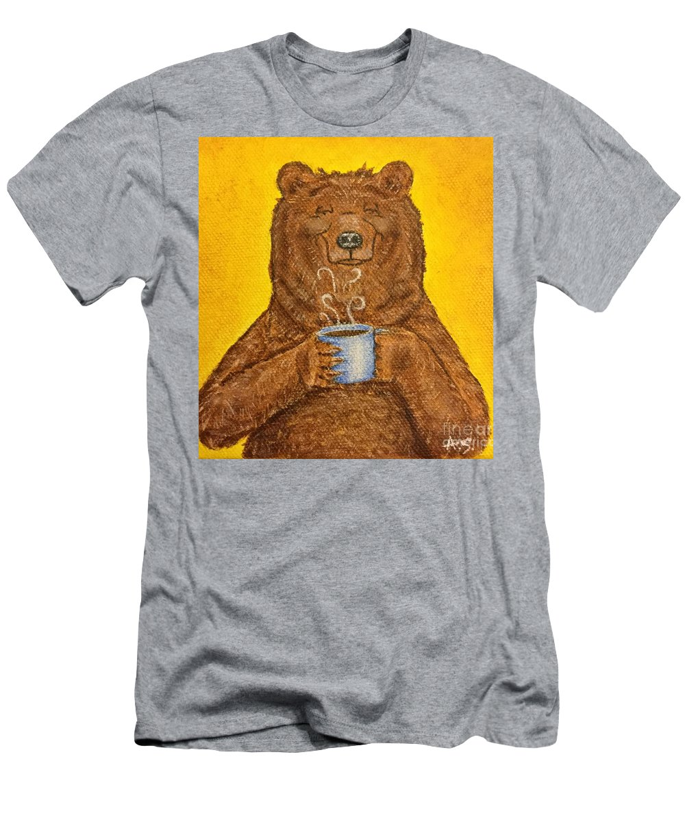 Grizzly Men's T-Shirt (Athletic Fit) featuring the painting Morning Coffee by Amelia Schimetz