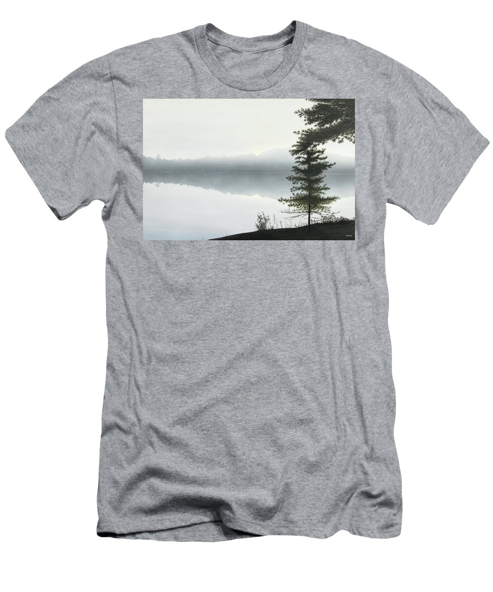 Landscapes Men's T-Shirt (Athletic Fit) featuring the painting Morning Fog by Kenneth M Kirsch