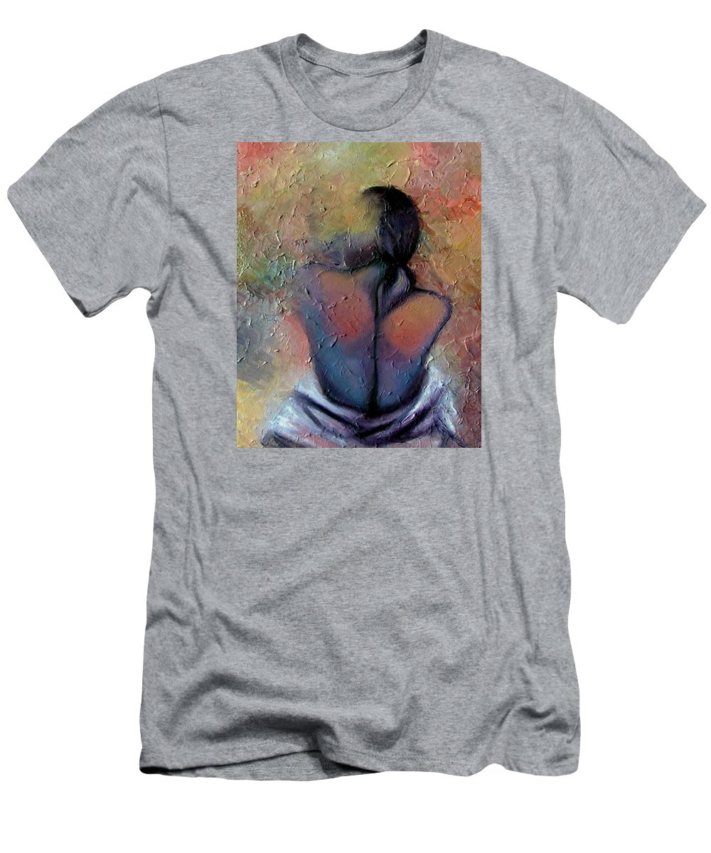 Abstract Men's T-Shirt (Athletic Fit) featuring the painting Morning Glow by Elizabeth Lisy Figueroa