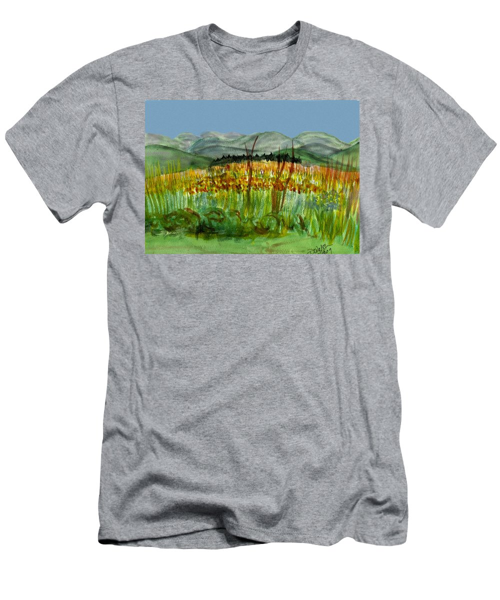 Batrton Vt Men's T-Shirt (Athletic Fit) featuring the painting Morning In Backyard At Barton by Donna Walsh