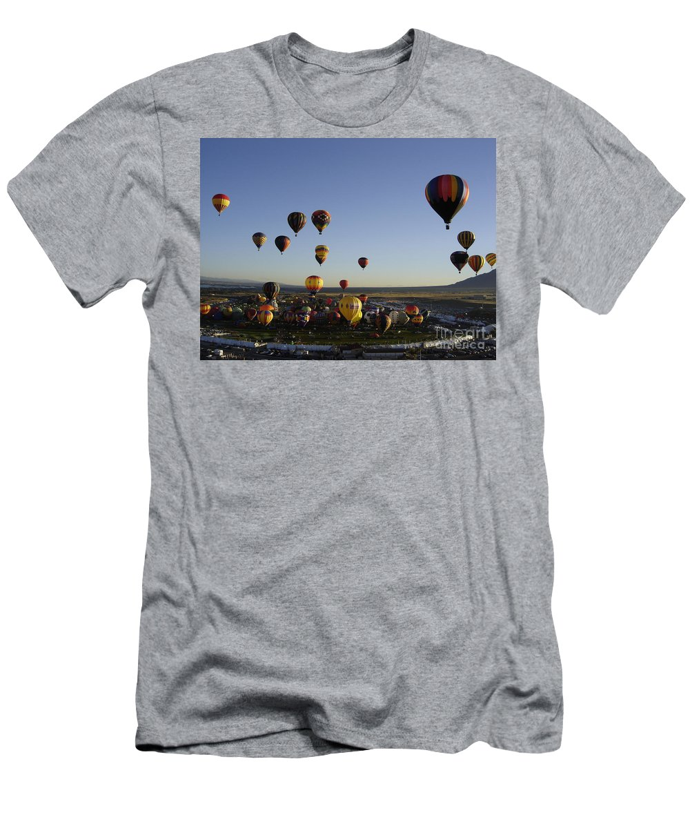 Hot Air Balloons Men's T-Shirt (Athletic Fit) featuring the photograph Morning Liftoff by Mary Rogers