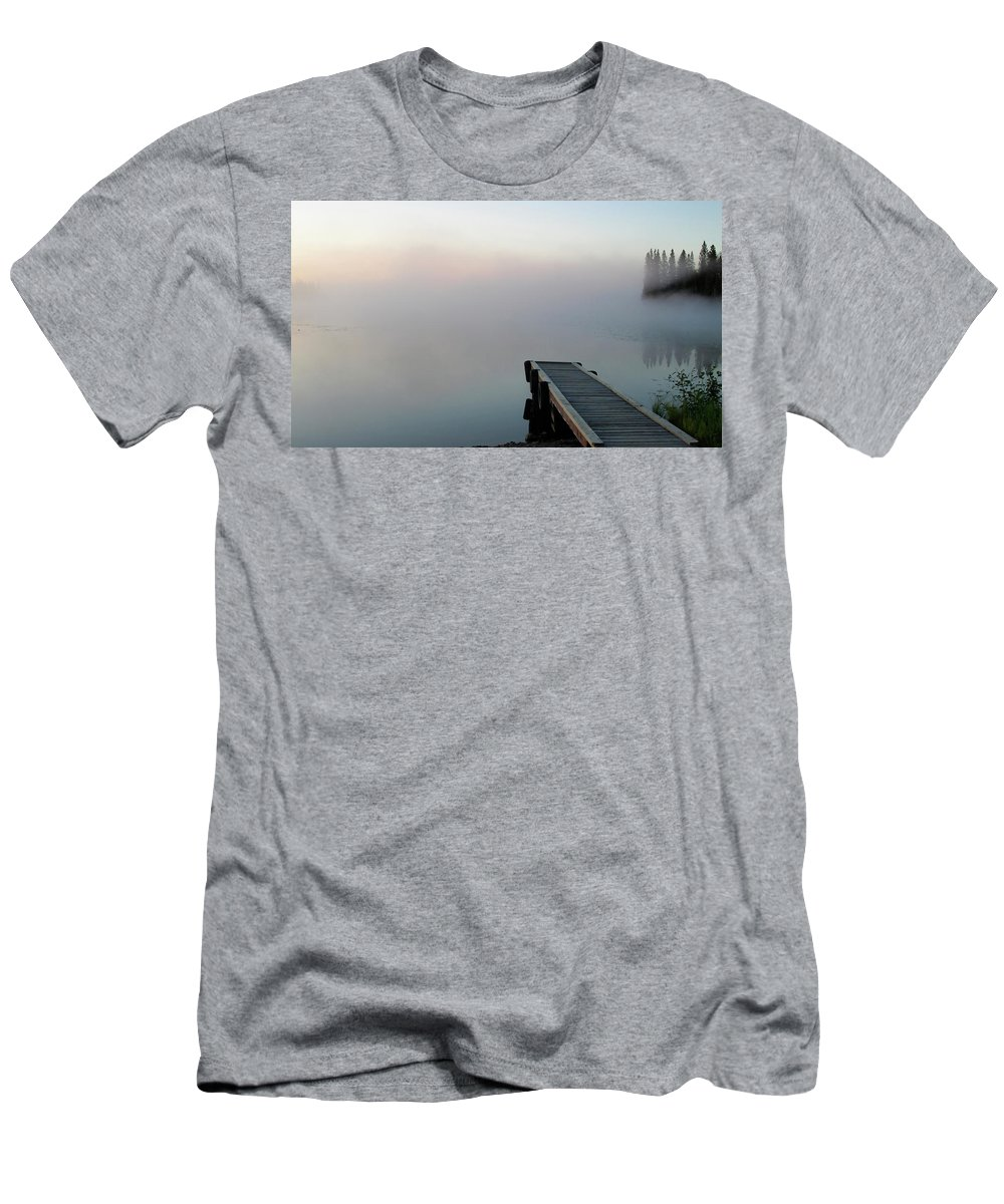 Men's T-Shirt (Athletic Fit) featuring the digital art Morning Mist On Lynx Lake Saskatchewan by Mark Duffy