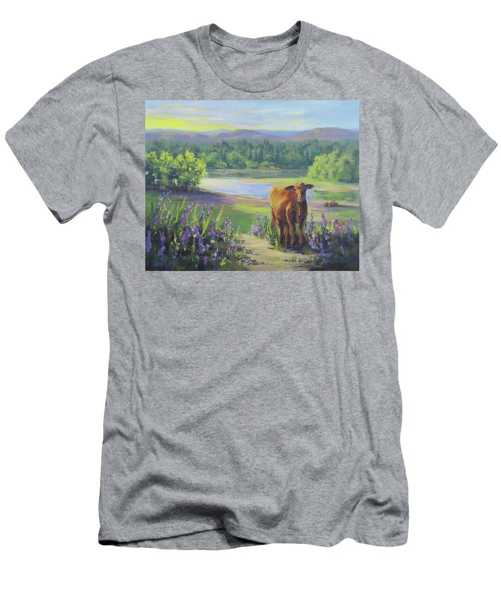 Rural T-Shirt featuring the painting Morning Walk by Karen Ilari