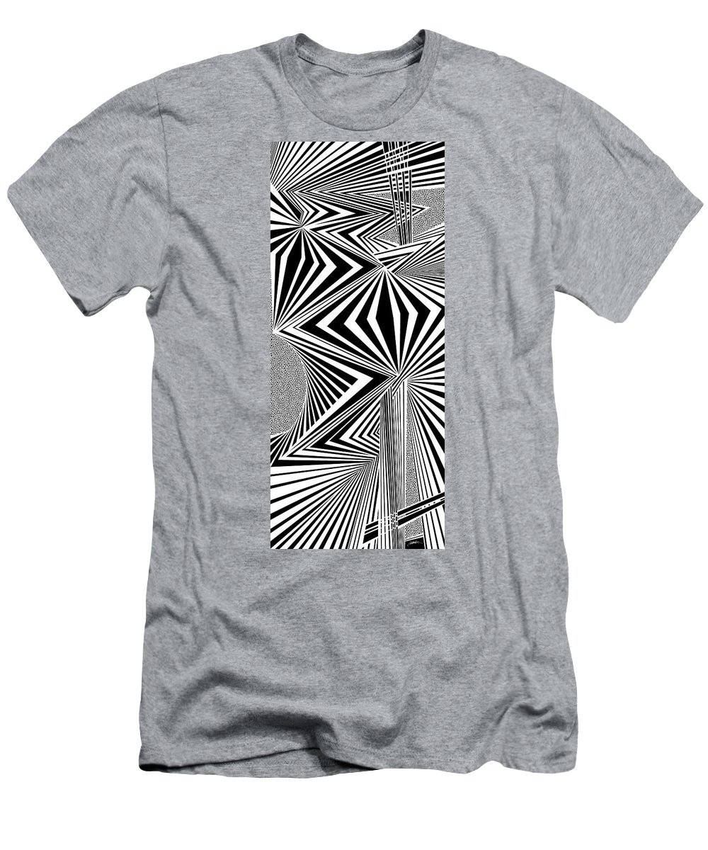 Dynamic Black And White Men's T-Shirt (Athletic Fit) featuring the painting Mortality by Douglas Christian Larsen