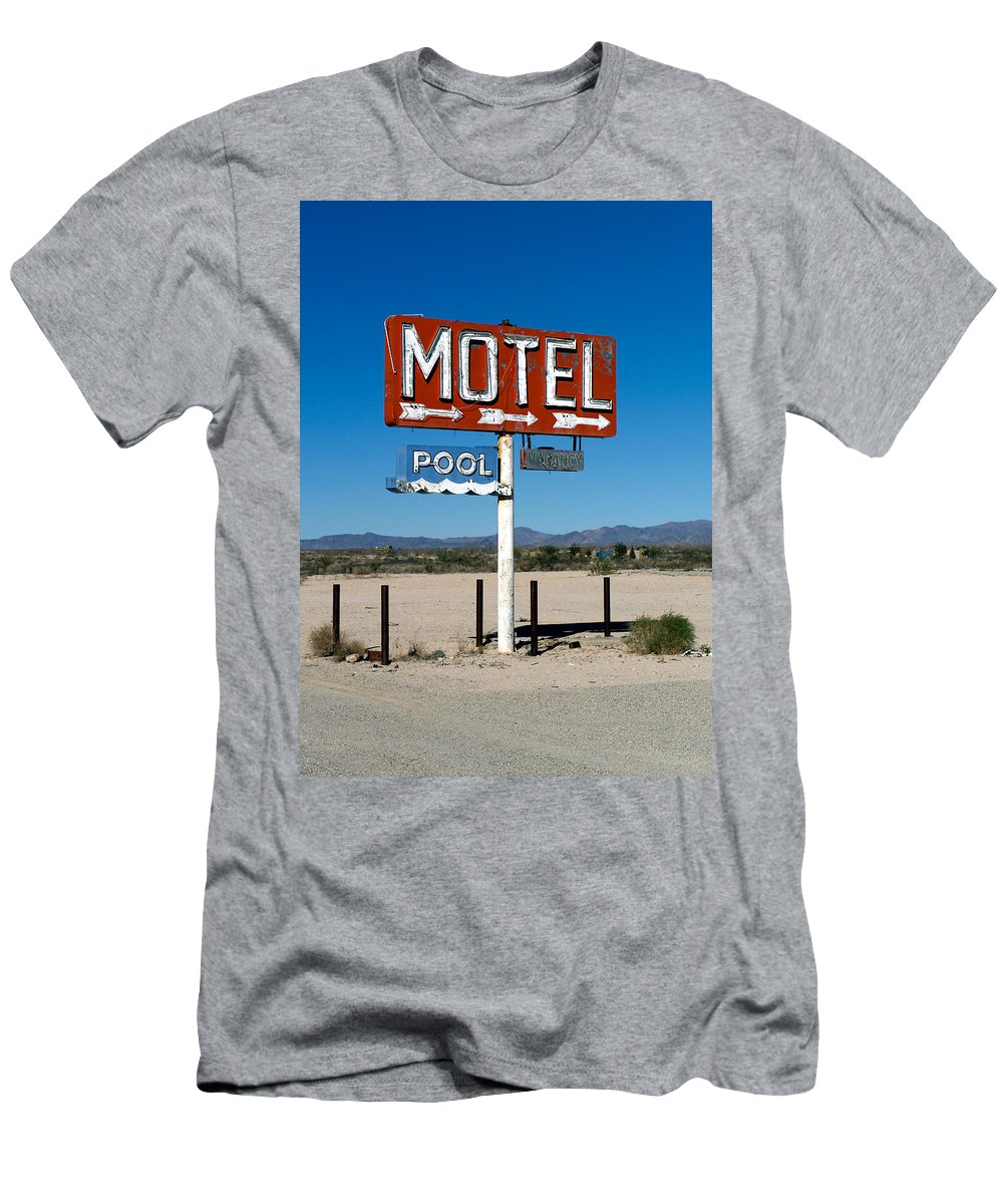 Route 66 Men's T-Shirt (Athletic Fit) featuring the photograph Motel Sign On I-40 And Old Route 66 by Scott Sawyer