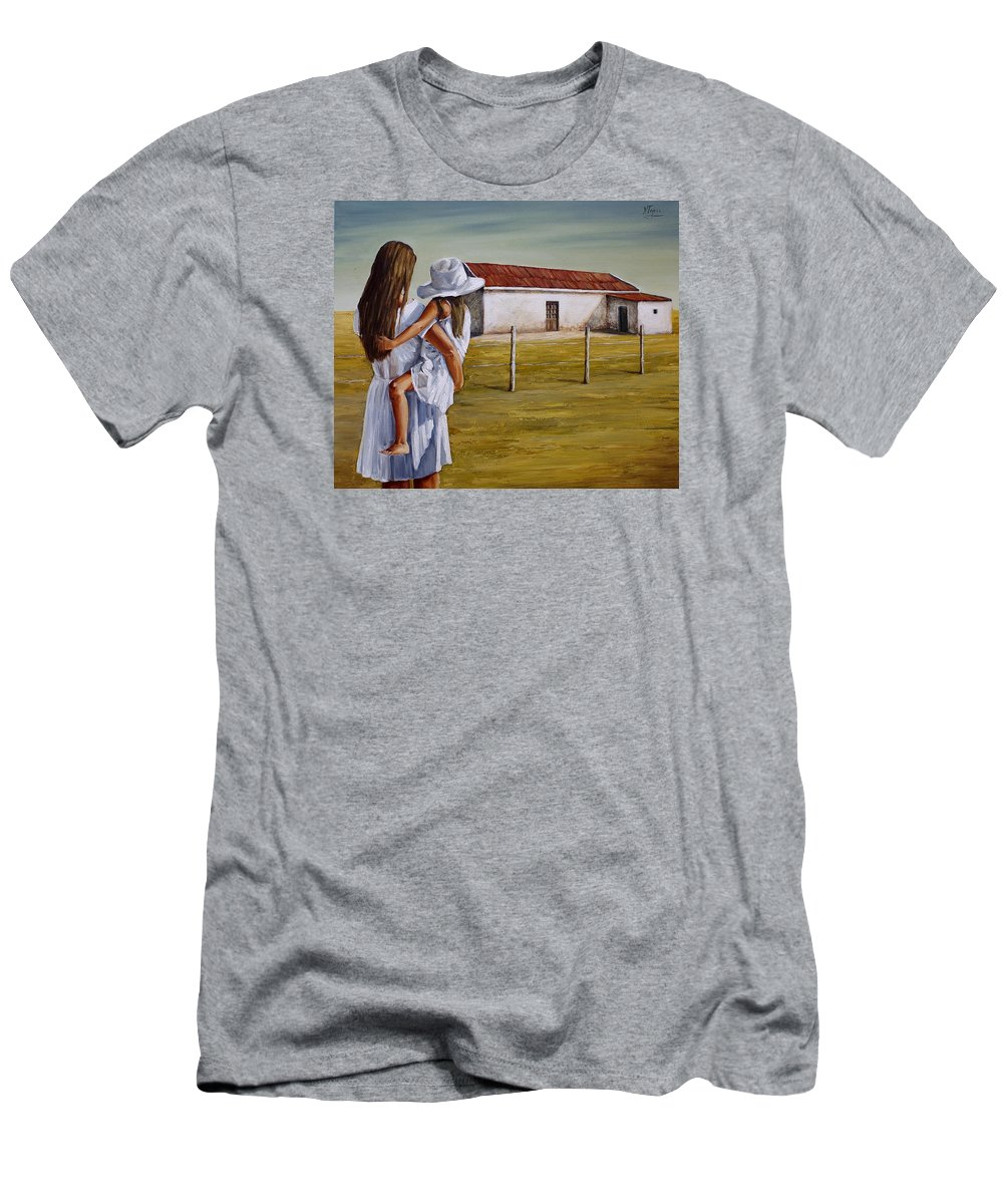 Mother And Daughter Men's T-Shirt (Athletic Fit) featuring the painting Mother And Daughter Iv by Natalia Tejera