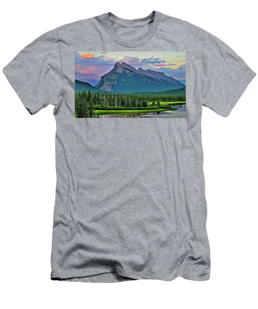 Mountain Men's T-Shirt (Athletic Fit) featuring the photograph Mount Norquay At Dusk by Frozen in Time Fine Art Photography