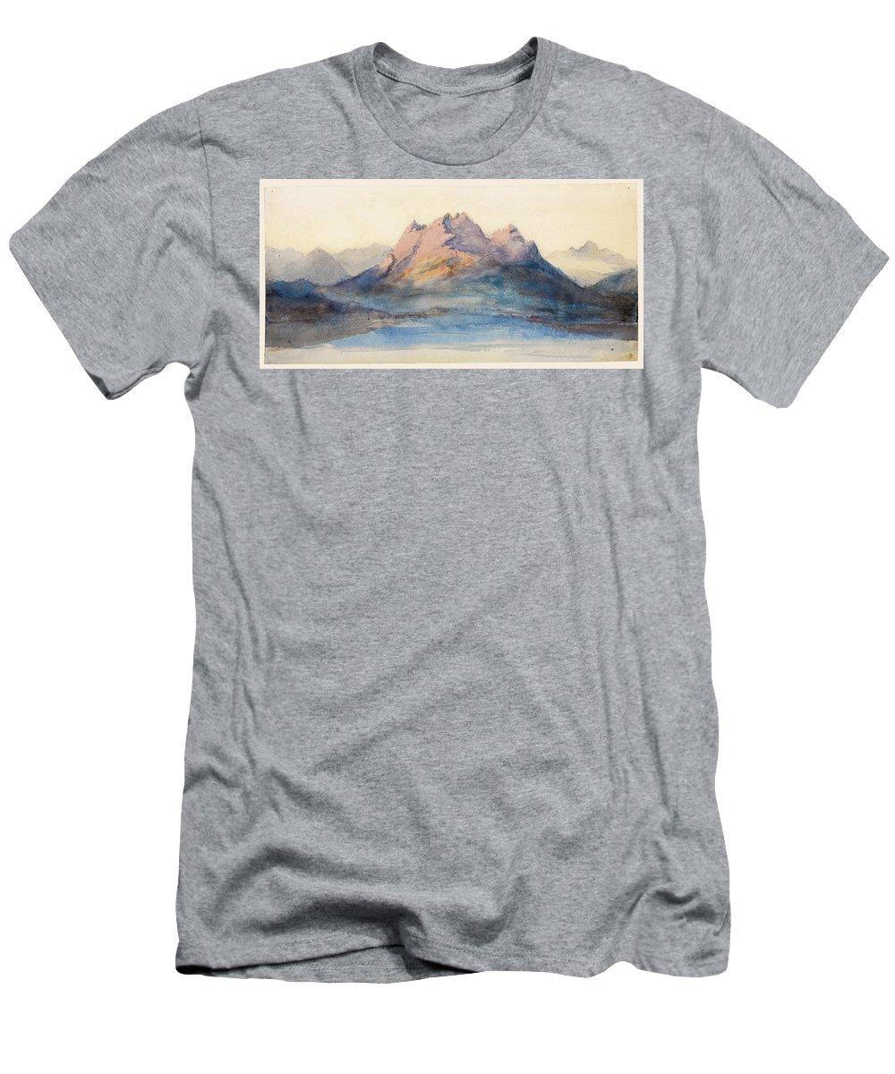 John Ruskin Men's T-Shirt (Athletic Fit) featuring the drawing Mount Pilatus From Lake Lucerne, Switzerland by John Ruskin