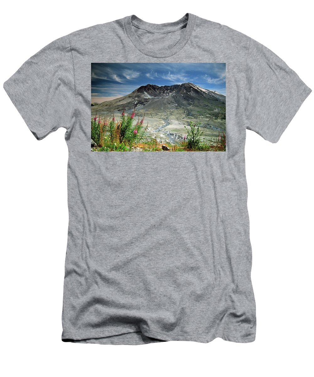 Caldera Men's T-Shirt (Athletic Fit) featuring the photograph Mount Saint Helens Caldera by Rick Bures