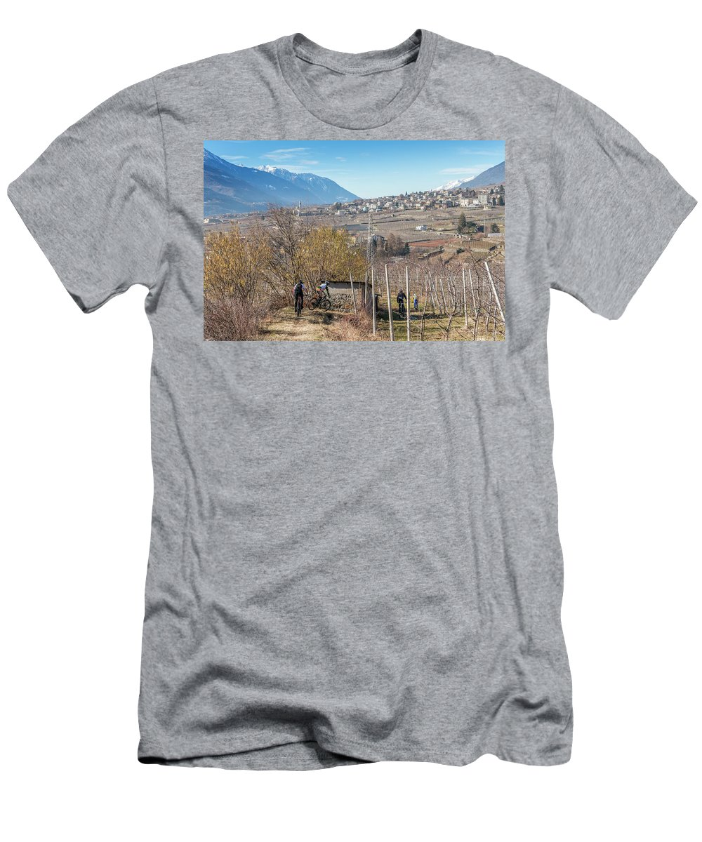 Adventure Men's T-Shirt (Athletic Fit) featuring the photograph Mountain Bikers In Italian Alps by Alexandre Rotenberg