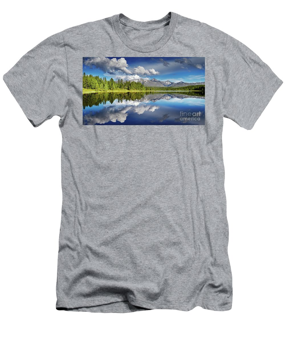 Altai Men's T-Shirt (Athletic Fit) featuring the photograph Mountain Lake With Reflection by Dmitry Pichugin