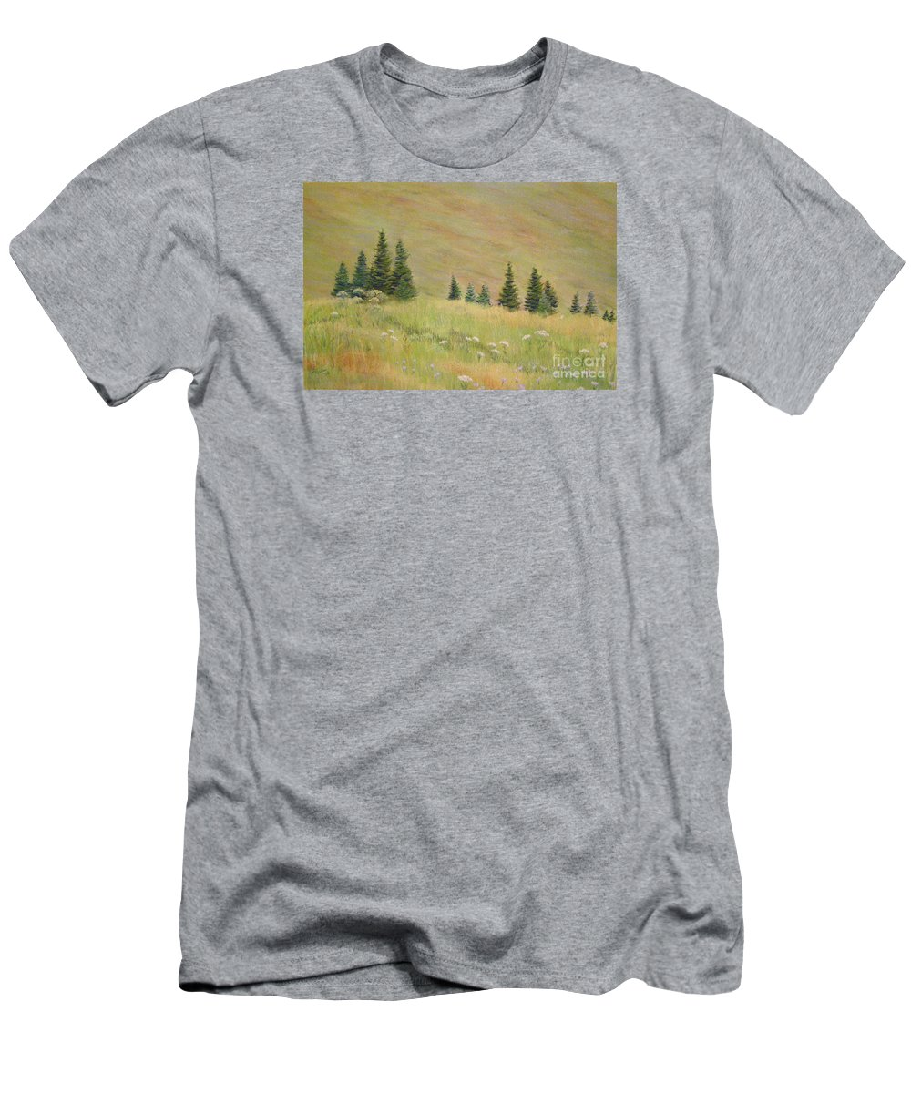 Landscape Men's T-Shirt (Athletic Fit) featuring the painting Mountain Meadow by Lynn Quinn